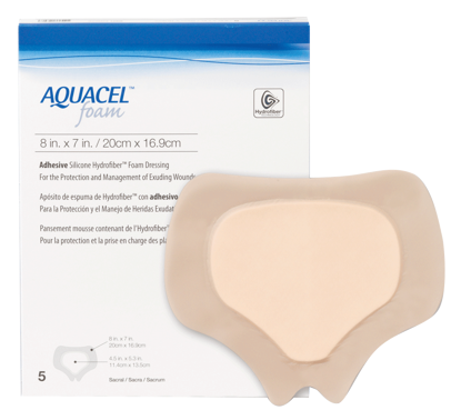 "Picture of Aquacel Adhesive Gelling Foam Dressing 8"" x 7"" Sacral"