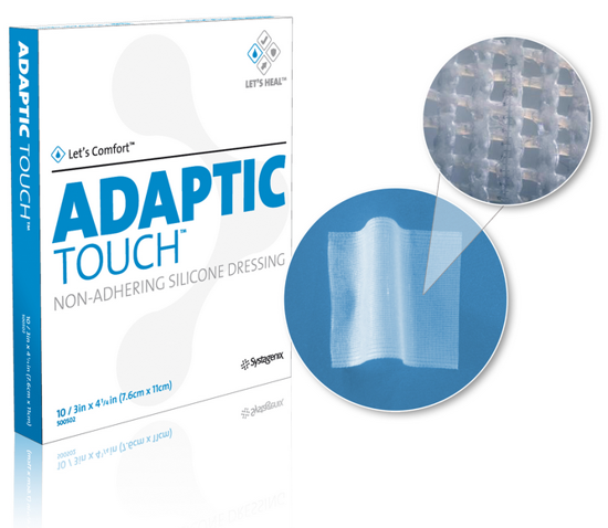 "Picture of Adaptic Touch™ Non Adhering Dressing, Flexible, Cellulose Acetate Coated with Silicone 3"" x 4-1/4"""