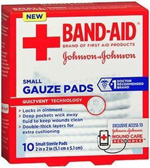 """Picture of Johnson & Johnson Band-Aid® First Aid Gauze Pad, Small (2""""x2"""")"""