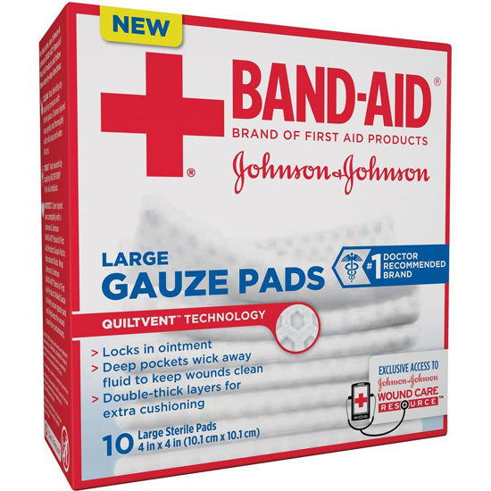 """Picture of Johnson & Johnson Band-Aid® First Aid Gauze Pad, Large (4x4"""")"""