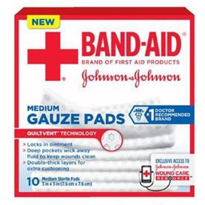 "Picture of Johnson & Johnson Band-Aid® First Aid Gauze Pad, Medium (3""x3"")"
