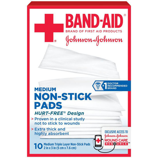 "Picture of Johnson & Johnson Band-Aid® First Aid Non-Stick Pad, Medium (2""x3"")"