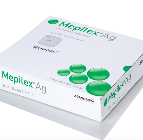 """Picture of Mepilex Ag Antimicrobial Soft Silicone Foam Dressing with Silver 4"""" x 4"""""""