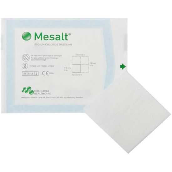 "Picture of Mesalt Sodium Chloride Impregnated Dressing 6"" x 6"" (3"" x 3"" folded)"